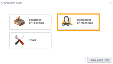 Create asset screen with Equipment or Machines button highlighted.