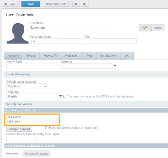 Account tab in the user record with User Name field highlighted.