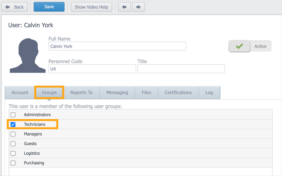 Groups tab in the user record with the Technicians user group selected.