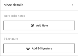 The E-Signature section in a work order