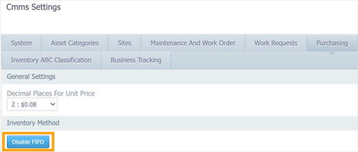 The Purchasing tab in Settings > CMMS Settings with the Disable FIFO button highlighted.