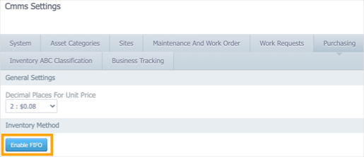 The Purchasing tab in Settings > CMMS Settings with the Enable FIFO button highlighted.