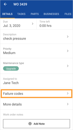 Details tab of a work order with the Failure codes section highlighted.