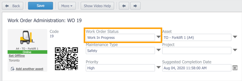 A work order with the Work Order Status drop-down list highlighted. The current status of the work order is Work In Progress.
