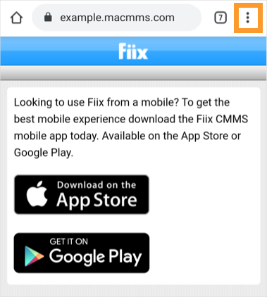 The Chrome mobile browser with the overflow menu button highlighted