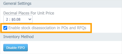 The Purchasing tab in Settings > CMMS Settings with the Enable stock disassociation in POs and RFQs checkbox highlighted.